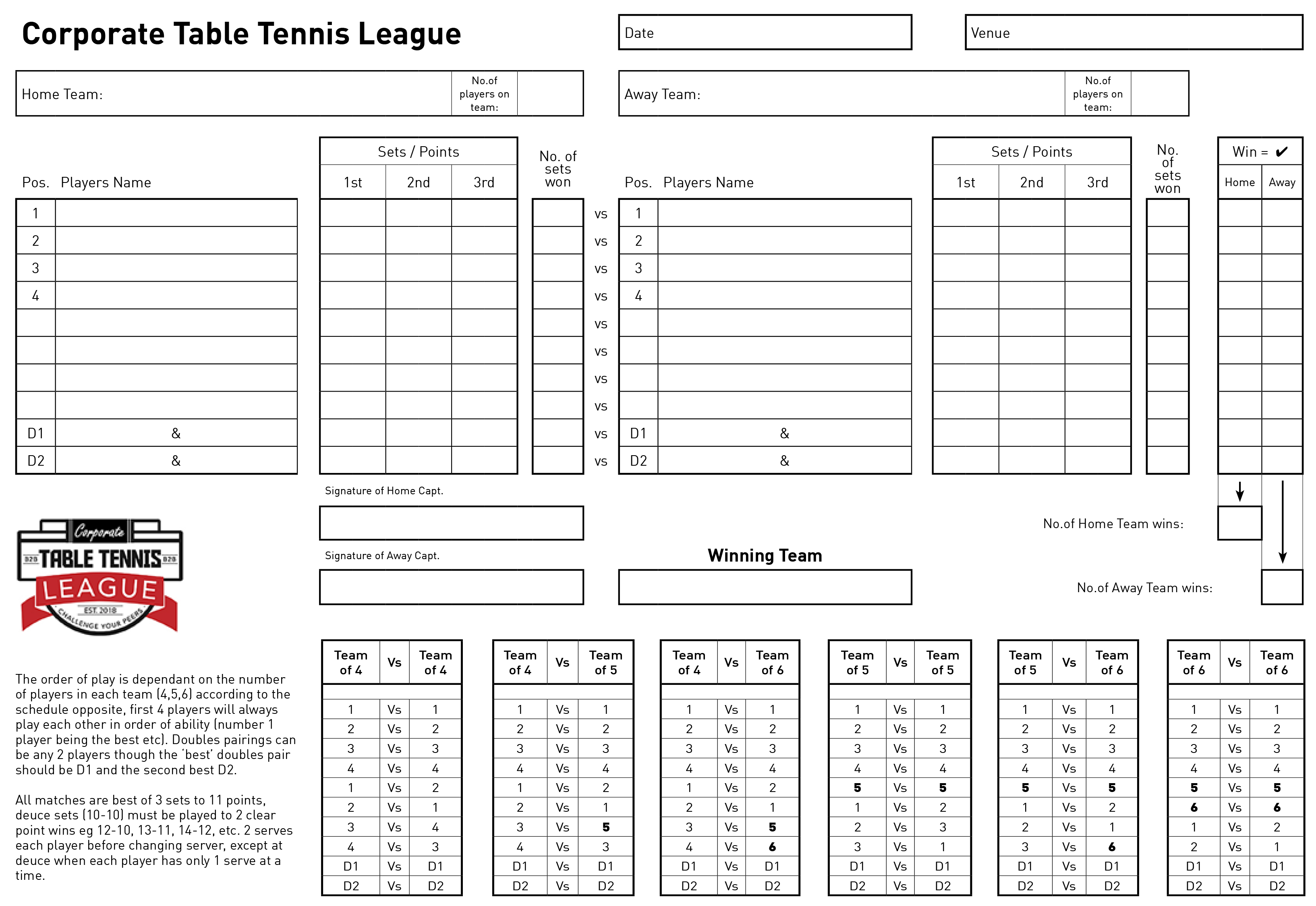 Corporate Table Tennis League Match Sheets (best of 3 sets)